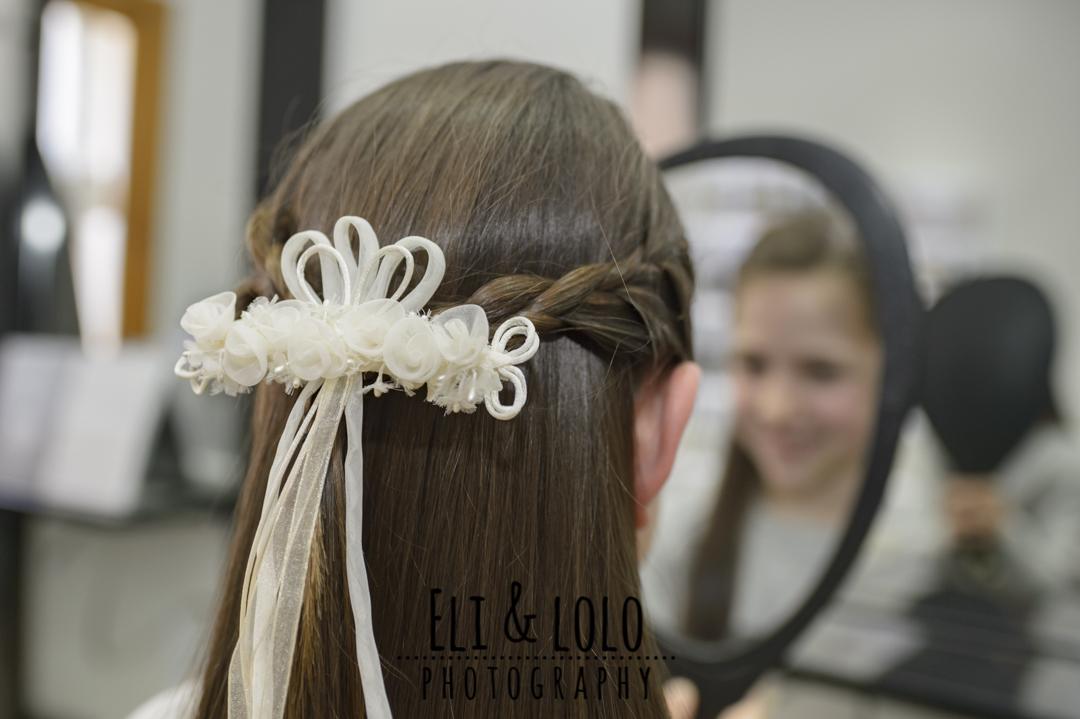 detalle de peinado primer comunion
